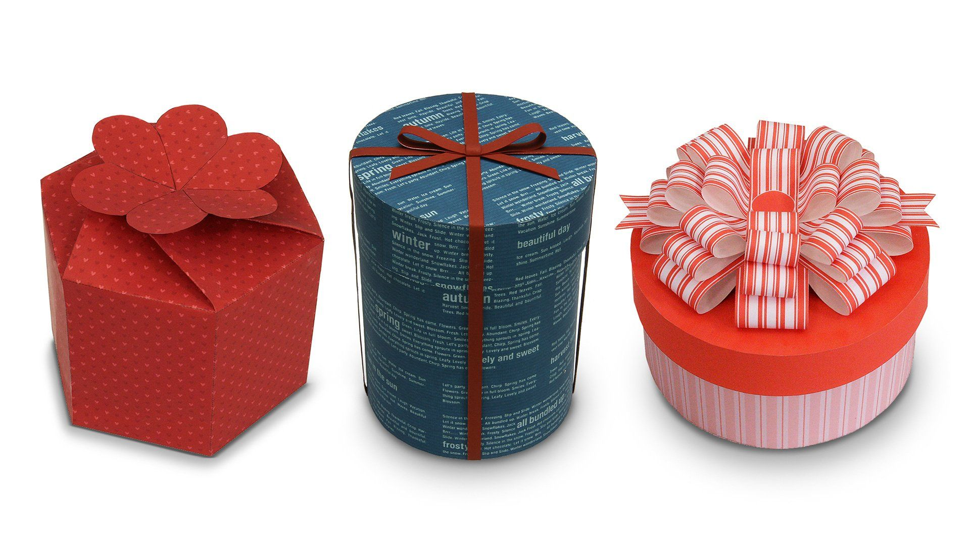 Three homemade decorative gift boxes in different shapes.